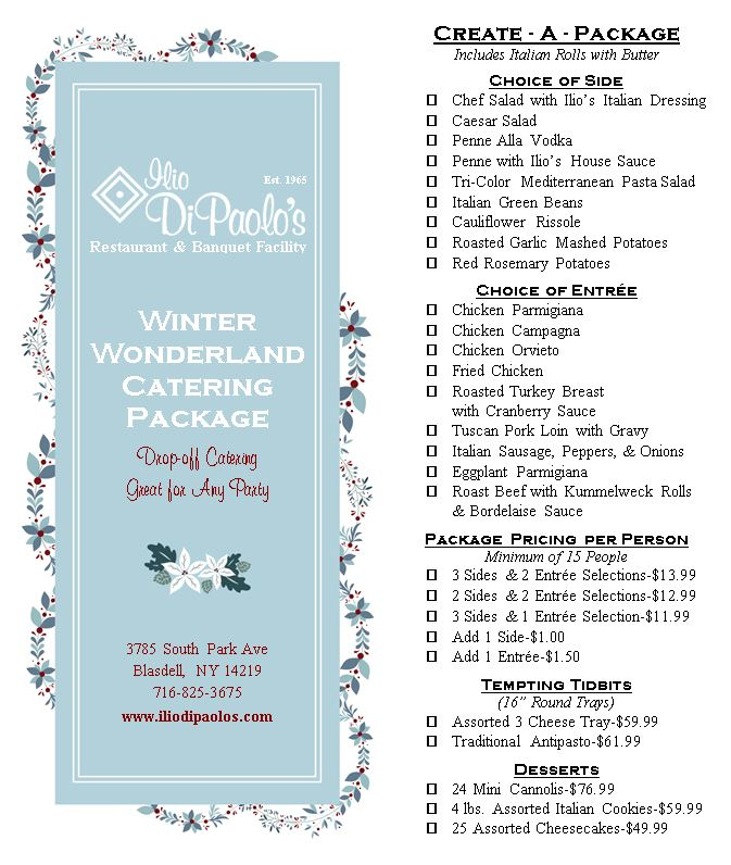 WINTER WONDERLAND CATERING PACKAGE